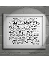 `Noir Paranoiac` Art Print - FOO FIGHTERS - One By One - Signed & Numbered Limited Edition Typography Unframed 10x8 Inch Album Wall Art Print - Song Lyrics Mini Poster