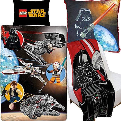 LEGO Star Wars space Bettbezug & Leinwand Kissen & Fleece Decke Schlafzimmer Set Bundle