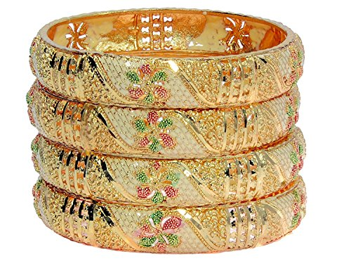 YouBella Jewellery Traditional Gold Plated Bracelet Bangles Set For Girls and Women (2.6)