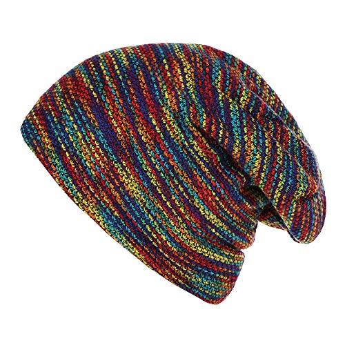 SO-buts Unisex Gestreifte Plus Samtmütze, gekräuselte warme Wollmütze, Outdoor-Casual Mütze Hut (Mehrfarbig)