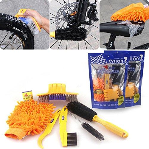 Tiptiper Fahrradreinigungswerkzeug, 6 STÜCKE Fahrrad Reinigungswerkzeug kits Reiniger Reifen Pinsel Fahrradhandschuhe Pinsel + 1 Glove
