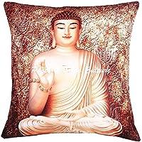 Stylo Culture Polydupion Scatter Fundas de cojín Brown Print Digital Living Room Funda de cojín 40 X 40cm Indian Square Traditional Buddha 40x40 cm Fundas de cojín (1 pieza)