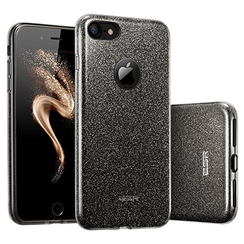 Custodia iPhone 7 Paillettes Silicone, Case Cover per iPhone 7 in Silicone, ESR iPhone 7 Glitter Bling Case Cover iPhone 7/7S (Nero)