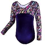 HUANQIUE Fille Justaucorps de Gymnastique Leotard Danse en Velours MulticolorSleeve 6A