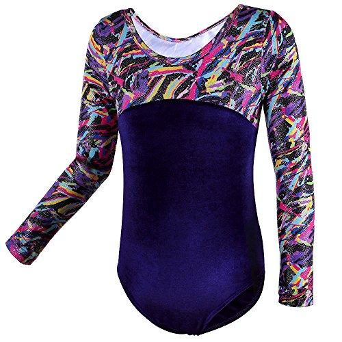 HUANQIUE Langarm Turnanzug Mädchen Gymnastikanzug Leotard Kinder aus Velours Multicolor (Muster Eiskunstlauf Kostüme)