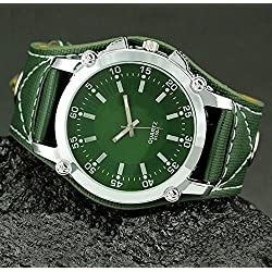 amazing-trading(TM) Men's Alloy Leather Strap Oversize Wrist Watch Buckle Quartz Dial Clock