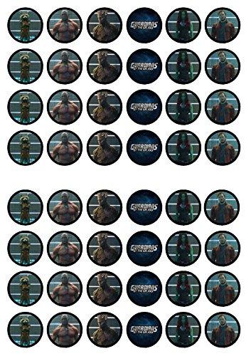 48 Guardians Of The Galaxy, Essbare PREMIUM Dicke GEZUCKERTE Vanille, Reispapier Mini Cupcake Toppers, Cake Pops, Cookies für Wafer