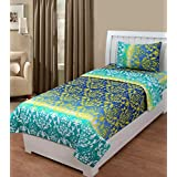 Super India Classics 140 TC Cotton Single Bedsheet With Pillow Cover - Green,yellow And Blue