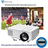10 Year's Long Life Projector>TS-HD04>Portable Mini LED Projector>1500Lumens>50'000hrs Lamp Life Projector For Home Cinema Gaming & Education Support 1080P Anagraphy RED & BLUE 3D Projector 800*600 Native Resolution,Big Projection 120&
