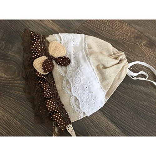 Bonnet béguin vintage fait main 0-3 mois, modèle Camélia