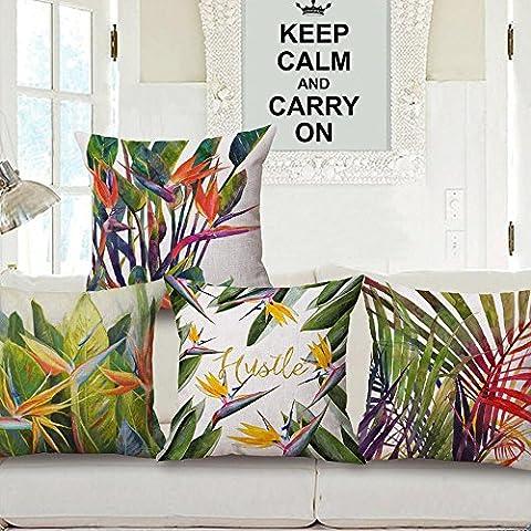 Tropical las plantas serie algodón lino Plaza decorativa Throw Pillow caso cojín cubrir 18 x 18 pulgadas (1 paquete de 4)