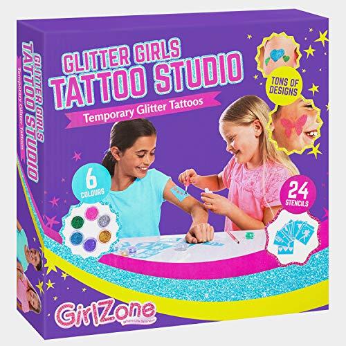 GirlZone Kit de Tatuajes Temporales con Brillantina para...