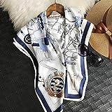 SCARWWH Damenbekleidung Mulberry Silk Shawls Segel-Seidentücher Europäische und Amerikanische Blaue und Weiße Satinschals