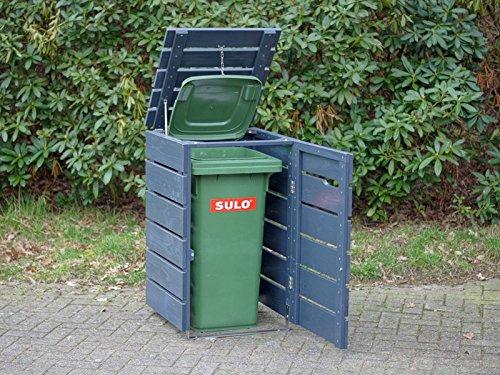 1er Mülltonnenbox 240 L Holz, Deckend Geölt Anthrazit Grau - 3