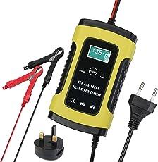 Petit Wudong 6A Batterie Ladegerät 6V/12V, Batterieladegerät Erhaltungsladegerät, LED-Batteriespannungs- und Ladefortschrittsanzeige für KFZ PKW Auto Motorrad