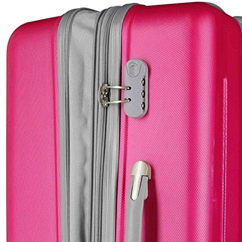 Eurotravel 4 Rollen Koffer ABS 75cm (schwarz) pink