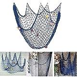 Lovetree, rete da pesca nautica con conchiglie in stile mediterraneo per decorare la casa, Blue, M(150 x 200cm)