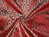 Seide Brokat Stoff rot, grün und metallic gold Farbe