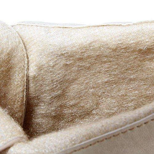 VogueZone009 Donna Bassa Altezza Puro Allacciare Punta Tonda Tacco Alto Stivali Albicocca