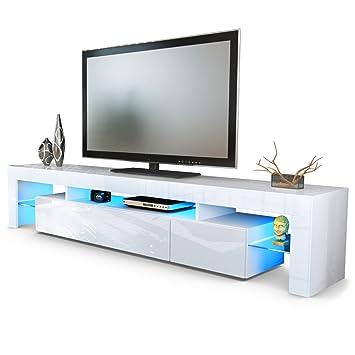 TV Board Lowboard Lima V2, Korpus in Weiß / Front in Weiß ...