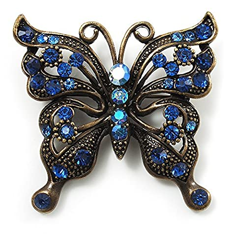 Bronze Filigree Blue Diamante Butterfly Brooch