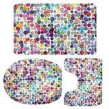 MagiDeal 3pcs Badematten Set Badezimmer Anti-Rutsch Sockel Teppich + Deckel WC-Abdeckung + Badematte Set - Bunte Punkte, 79x49cm
