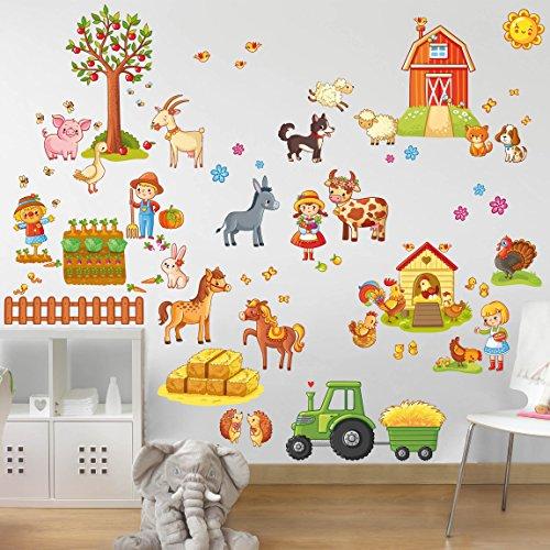 Preisvergleich Produktbild Bilderwelten Wandtattoo Großes Bauernhof-Set Wandtattoo Wandsticker Kinderzimmer Illustration, Größe: 40cm x 60cm