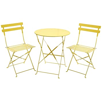 Charles Bentley 3 Piece Folding Metal Bistro Set Garden Patio