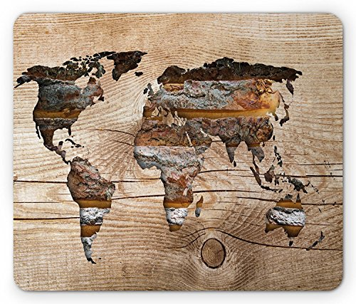 Tan-world-design (Modern Mouse Pad, Vintage World Map Form on Wooden Texture Effect Background Authentic Rustic Design, Standard Size Rectangle Non-Slip Rubber Mousepad, Tan Brown)
