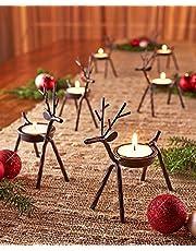 the purple tree Cast Iron Reindeer Shaped Tealight Holder (5.5x5x2inch, Black) - 2 Piece