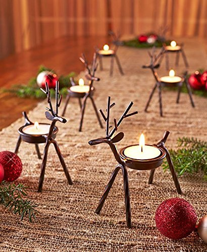The Purple Tree Cute Christmas Reindeer Tealight Holder - 1 pc (Black) Reindeer Shaped tealight Holder, Christmas Gift, Christmas Lights, Christmas tealight