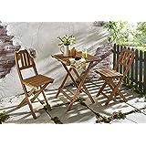 SAM® Conjunto para balcón resistente, 3 piezas, 1 mesa + 2 sillas, mueble de madera de acacia plegable aceitado y macizo. Tirantes verticales en el respaldo.