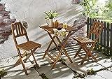 SAM® Set da balcone robusto, 3 pezzi, 1 tavolo pieghevole + 2 sedie, mobile da giardino in legno d'acacia oleato, in legno massiccio e pieghevole. Montanti verticali allo schienale.