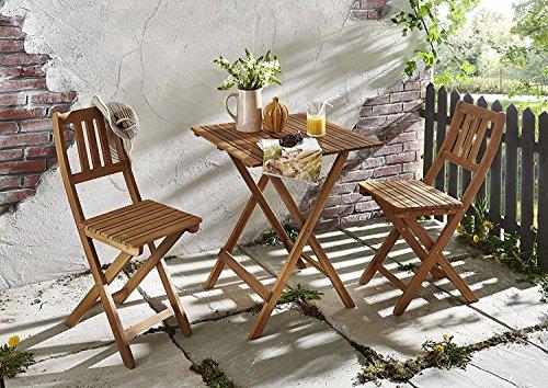 SAM 3tlg. Balkon- Sitzgruppe, Garten-Möbel aus Akazien-Holz geölt, bestehend aus 1x Tisch + 2x...