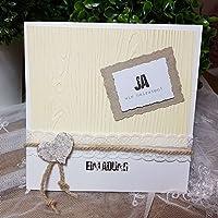 10 Stück Einladungskarte Hochzeit EDEL-RUSTIKAL Holz Birkenherz