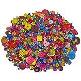 PARAGOLPES Pack de Botones Artesanales - 1000g De tamaños y colores surtidos. - Fantástico para todas las actividades de arte, Collage, Punto, croché, Titeres De Calcetin, Cuentas, color o tamaño clasificación