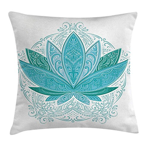 Lotus Throw Pillow Cushion Cover by , Lotus Flower with Ornaments Ethnic Exotic Petals Mehndi Traditional Boho Design, Decorative Square Accent Pillow Case, 18 X 18 Inches, Teal Sky Blue