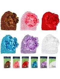 Bundle Monstre 6pc bonnet pour bébé fait au crochet avec fleur à clip de couleurs variées - Convient aux petits de 0-3 ans