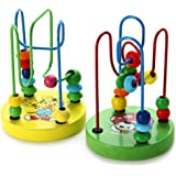 1 Piece Mini Colorful Educational Game Baby Wooden Toy Around Beads Wire Maze