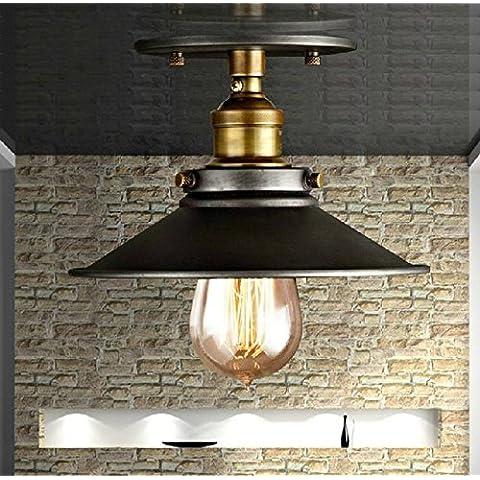 LINA-Retro Vintage colgante tonos claros contemporáneo colgante techo techo Metal luz iluminación lámpara Lámpara de techo de hierro forjado negro , 22cm