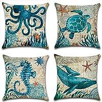 PYHQ Juego de 4 fundas de cojín de lino, tema del océano mediterráneo,45 x 45cm,tortuga pulpo Caballito de mar kit decorativo