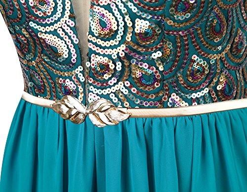 Angel-fashions Damen V-Ausschnitt Bund Pfau Paillette Ruching Chiffon Kleid Blau Gruen