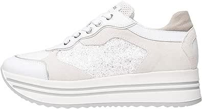 Nero Giardini E010569D Sneakers Donna in Pelle, Camoscio E Tela - Bianco 35 EU