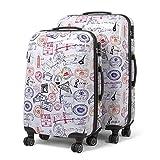 MasterGear Design Koffer Set 2 tlg in bunt , Größe: M & L , Reisekoffer 4 Rollen (360 Grad) , Trolley, Kofferset, Hartschalenkoffer , ABS Koffer Hartschale mit Zahlenschloss, stapelbar