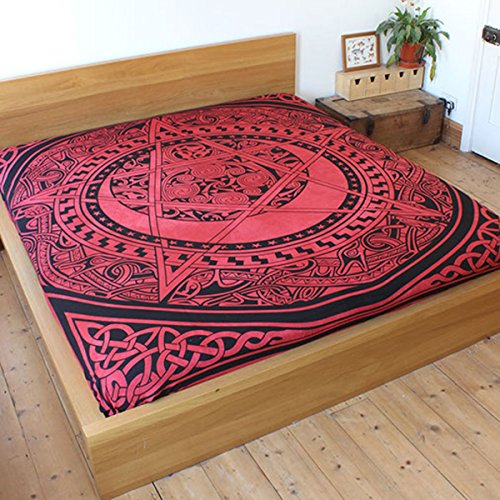 Celtic Pentacle Bedspread | red pentagram Hippy Bed cover | Gothic cotton throw over