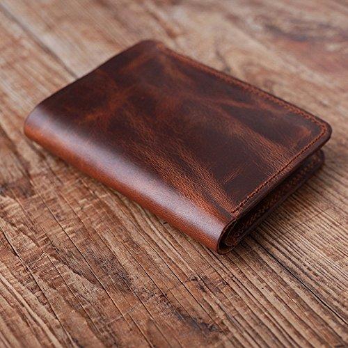 Original handgemachte Leder, Leder Mann, kurze Brieftasche, Retro Tasche, Freund, Geschenk, Braun Brown
