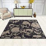 FFY GO Bereich Teppich, Skull Art Vintage Print Teppich Super Soft Polyester Große rutschfeste Modern Bad-Teppiche für Schlafzimmer Wohnzimmer Hall Abendessen Tisch Home Decor 121,9x 160cm, Textil, multi, 48 x 63 inch