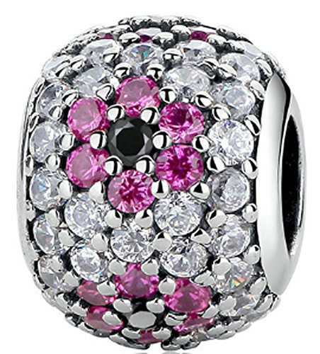 SaySure - 925 Sterling Silver Shinning Clear & Pink CZ Charm Beads
