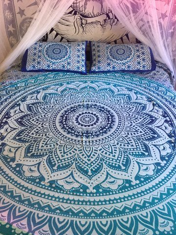 Indian Cotton Mandala Double Queen Size Bed Quilt Duvet Doona Cover Dorm Blanket with pillows cover