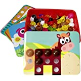 GoAppuGo Animals Activity Toys for 2 3 Year Old Boys Girls Kids, 10 Animals Puzzle Cards, 50+ Jumbo Buttons, Educational Lear
